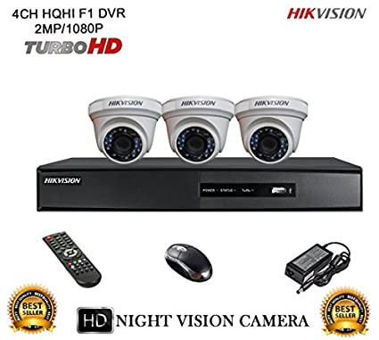 Hikvision-DS-7204HQHI-E1-4CH-Dvr,-3(DS-2CE56DOT-IRP)-Dome-Camera-(With-Mouse,-Remote)