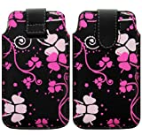Wayzon Premium Quality Eco PU Leather Printed Protection Pouch Case Cover Skin Wallet Holster Pocket With Pacific Pink Flowers On Black Surface For Blackberry Torch 9800