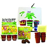 """TickleMe Plant Deluxe Greenhouse Kit with Paint Set For Kids with Fun Activity Science Card """" Grow the only House Plant that closes its leaves and lowers it branches when you Tickle It)"""