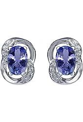 1.11 Ct Oval Blue Tanzanite 925 Sterling Silver Earrings