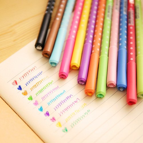 DoDoo Set of 12 Cute Cartoon Polka Dot Diamond Multi Colored Gel Ink Rollerball Pens For School Office Prizes Gifts