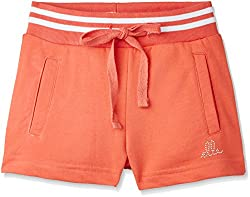 Elle Girls' Shorts (EKST0065_Coral Punch_6 - 7 years)
