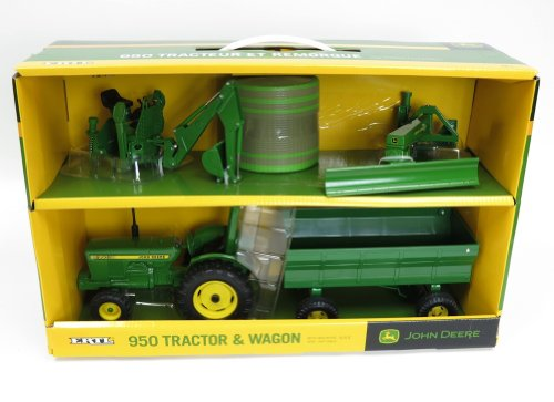 John Deere 950 Tractor With Wagon, Backhoe, And Blade Set