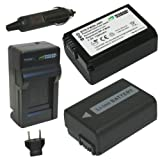 Wasabi Power Battery (2-Pack) and Charger for Sony NP-FW50 and Sony Alpha 7, a7, Alpha 7R, a7R, Alpha a3000, NEX-3, NEX-3N, NEX-5, NEX-5N, NEX-5R, NEX-5T, NEX-6, NEX-7, NEX-C3, NEX-F3, SLT-A33, SLT-A35, SLT-A37, SLT-A55V, Cyber-shot DSC-RX10