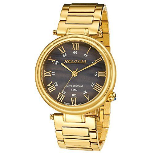 Heloisa Men's Gold Plated Swiss Watch Black MOP Dial #76120251 (Heloise Jewelry Box compare prices)