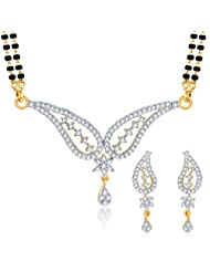 Sukkhi Lavish CZ Gold And Rhodium Plated Mangalsutra Set For Women