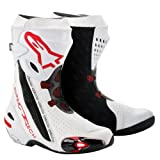 2220012 23 45 - Alpinestars 2012 Supertech R Motorcycle Boots 45 White/Red Vented (UK 11)