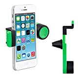 kwmobile Car ventilation mount for Smartphone - Car mount for ventilation grille in green - e.g. compatible with Samsung, Apple, Wiko, Huawei, LG, Sony, HTC, OnePlus, ZTE, Microsoft