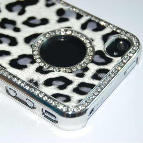 Luxury Unique Best Leopard Leather Czech Rhinestone Case Cover For Apple iPhone 4 4G 4S Crystal