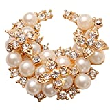 Pical Noblest Rhinestone Imitation Pearl Brooch Pin Golden
