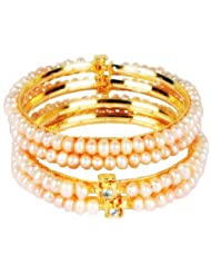 DD Pearls Button Freshwater Pink Color Pearls Bangles For Women