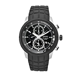 Seiko Men's SNAD85 Sports Black Rubber Black Chronograph Dial Watch