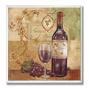 stupell home decor collection red wine and grapes kitchen wall plaque