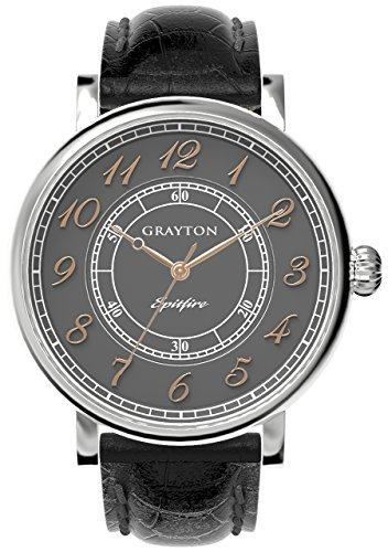 Grayton Spitfire Men's Quartz Watch with Grey Dial Analogue Display and Black Leather Strap GR-0014-001.4