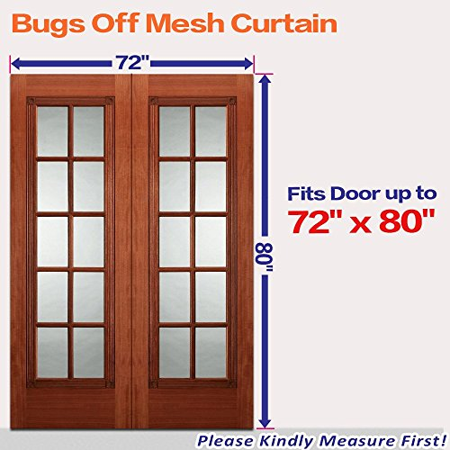 72 w x 80 h hands free magnetic screen door for french for French door mosquito screen