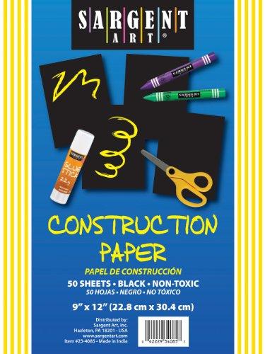 Sargent Art 23-4085 50-Count Black Construction Paper - 1
