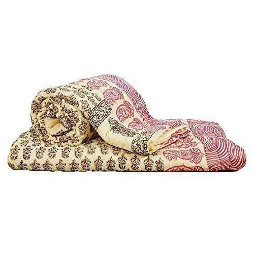Little India Multicolor diseño de 2 piezas Juego de funda de edredón para cama de matrimonio algodón rojo