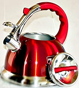 Whistling Kettle 3.0 L Stainless Steel Camping Silver/ RED induction / STOVE TOP KETTLE/ ALL cookers by frico