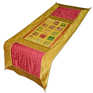 Dronaindia brocade silk table runner handmade for Best dining table material