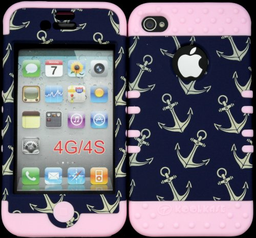 Bumper Case For Apple Iphone 4 4G 4S Anchor Pattern Hard Plastic Snap On Over Baby Pink Silicone Gel front-887750