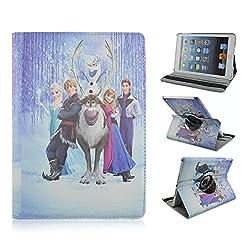 Retro Cartoon Apple iPad Mini Case, iPad mini 1/2/3 Case -- Folio 360 Rotating PU Leather Stand Case with Auto Sleep/Wake Function for Apple iPad Mini, iPad Mini 1 & 2 & 3 (M Frozen)