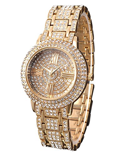 Zeiger Women Bling Jewelry Plated Classic Round Ladies Dress Wrist Watch, Fine Crystal (Gold)