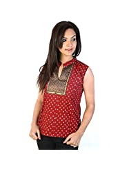 Jaipur RagaJaipuri Brocade Silver Print Red Cotton Top Rajasthani Kurti Kurti