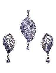 Gehna Alluring Handmade Cubic Zircon Stone Studded Pendant & Earrings Set