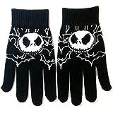 Jack Skellington style Gloves Black Nightmare Before Christmas Grey Bats Full Finger One Size