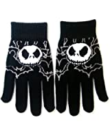 Jack Skellington style Gloves Black Nightmare Before Christmas Grey Bats Full Finger One Size