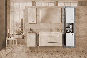 Fackelmann RONDO tall, right, Cognac Oak / High-Gloss White Bathroom Furniture