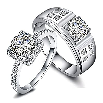 Engravable 2 Carats Imitation Diamond Designers Engagement Gold Rings Set for 2