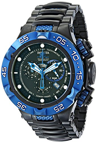 Invicta Subaqua Men's Quartz Watch with Black Dial  Chronograph display on Black Stainless Steel Plated Bracelet 15923