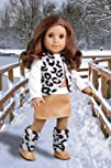 Snow Leopard – Faux fur vest and boots matched with a mini leather skirt and ivory blouse – 18 Inch…
