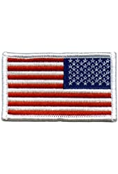 American US Flag REVERSED Patch White Border [Misc.]