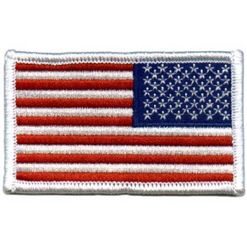 American US Flag REVERSED Patch White Border [Misc.] by Army Universe