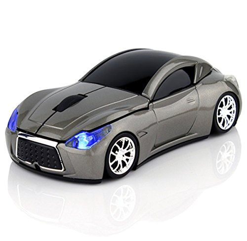 Wireless Sport Car Mouse Optical Mouse Mice Ergonomic Design For Computer Laptop Gray Color