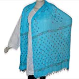 Neck Scarf Summer Wear Beaded Cotton Dupatta Clothing Accessory from India 102 x 209 cmsby DakshCraft