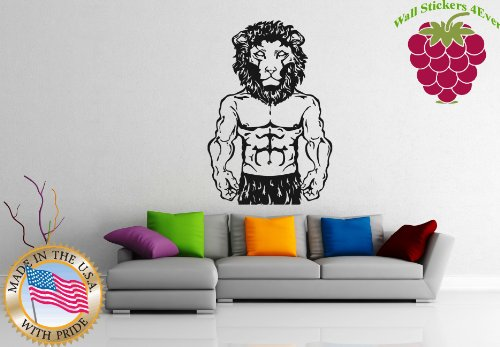 Wall Stickers Vinyl Decal Sport Muscle Body Lion Bodybuilding ig1067