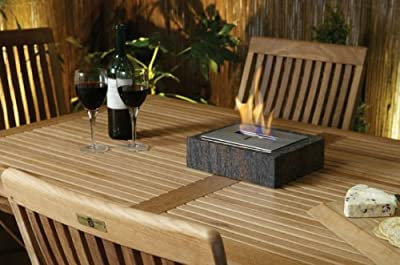 Granito - Table Top Outdoor Decorative Bio-ethanol Fire Black Granite Biofuel Fire from Garden Style Direct