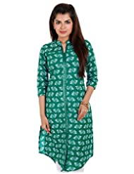 ESTYLe Green Casual Printed Cotton Kurta With Front Slit