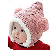 Renineic Unisex-Baby Boys Girls Knit Crochet Rib Pom Pom Winter Hat Cap Warm Winter (Pink)