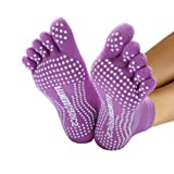 NAVA New 3 Pair S-M Non Slip 5 Finger Toe Socks Unisex Yoga Pilates Fitness Exercises
