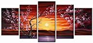 Wieco Art – 5 Panels Plum Tree Blosso…
