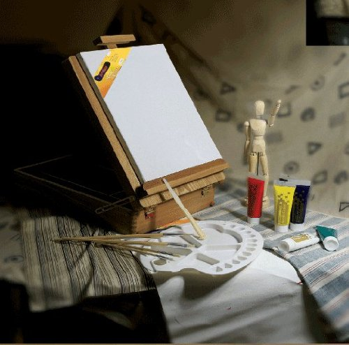 Artist Painting Set In Wooden Box Easel With Oil Paints, Brushes, Palette, Canvas & Painting Knife.