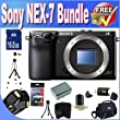 Digital Cameras - Sony Alpha NEX-7 Interchangeable Lens Digital Camera (Black) + 16GB SDHC Memory + Extended Life Battery + USB Card Reader + Memory Card Wallet + Deluxe Case w/Strap + Mini HDMI to HDMI Cable + Shock Proof Deluxe Case + Professional Full Size Tripod + Acce