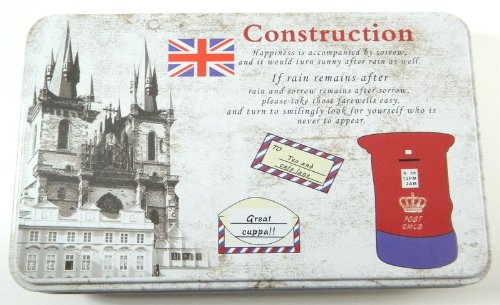 Vintage Style Post Card Design Kitchen Food Storage Tin Tea Box Pencil My-2088