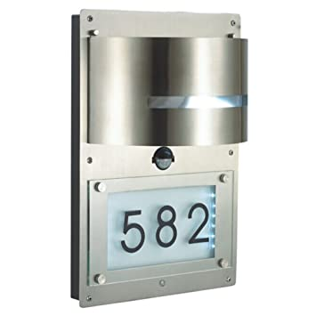 design edelstahl hausnummernleuchte wandleuchte hausnummer beleuchtet mit bewegungsmelder 39 de139. Black Bedroom Furniture Sets. Home Design Ideas