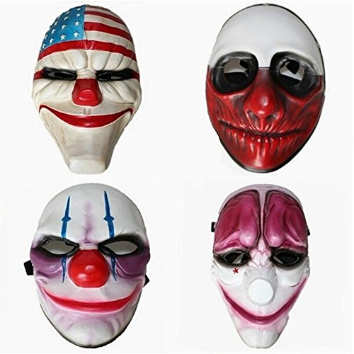 [ASSIS Halloween Festival Costume Horrible Mask Thrill Decorative Cosplay Payday 2 Dallas,Hoxton,Wolf,Chains Mask] (Political Couple Costumes)