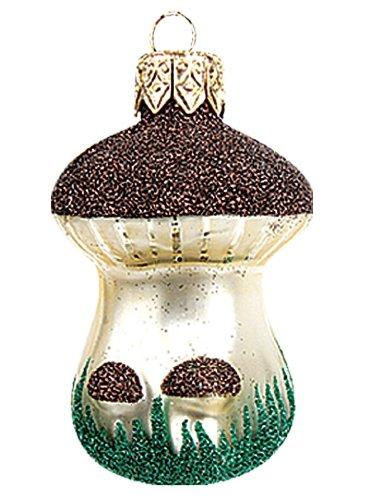 Brown Mushroom Polish Mouth Blown Glass Christmas Ornament